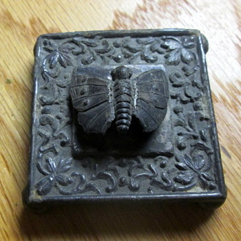 Small Antique Butterfly Cast Iron Footed Square Paperweight Marked On Bottom - Animals