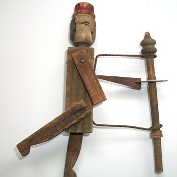 Antique Wooden Toy Noisemaker with Articulated Man - Folk Art