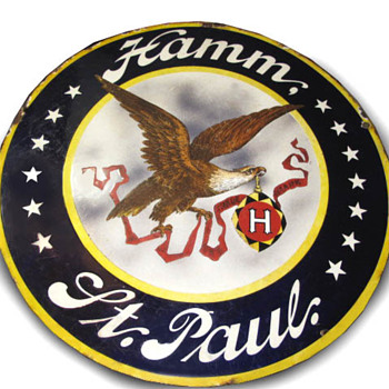 Early Hamms convex porcelain sign