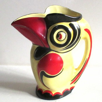 CZECH DECO DITMAR-URBACH POTTERY TOUCAN JUG - Art Pottery