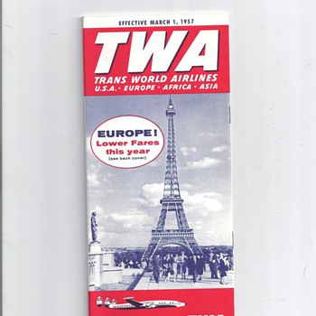 TWA MAPS, BROCHURE, POSTCARD AND FLIGHT SOCKS       - Advertising