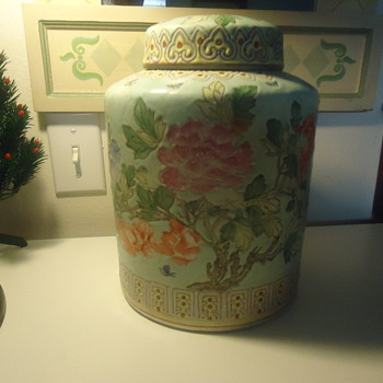"HAND DECORATED IN MACSU CHINA 10""HIGH PORCELAIN VASE"