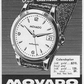 1952 - Movado Calender Watch Advertisement - Advertising