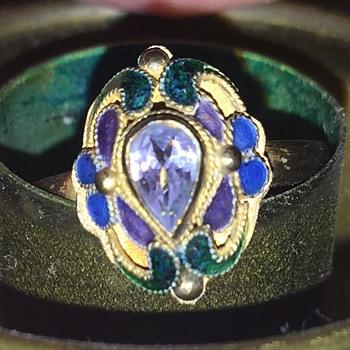 Silver enamel amethyst ring - Fine Jewelry