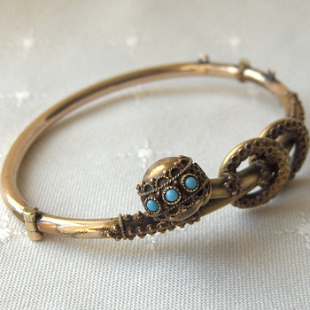 Old Worn Gold Filled Cannetille Turquoise Victorian Bangle - Victorian Era