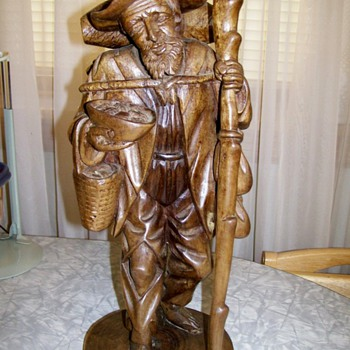 Ecuador Wood carved Peasant Man using Andean Walnut  - Folk Art