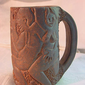 Mystery hand build heavy African Nudes theme Mug - Art Pottery