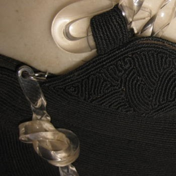 """""""Genuine Corde Luxor"""" bag with lucite handles and zipper pull"""