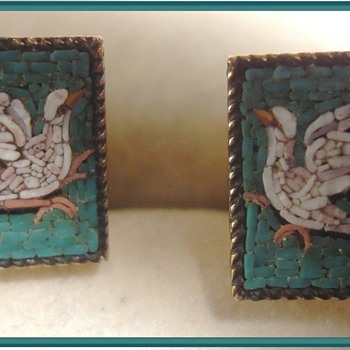 Micro Mosaic Doves Pair of Ladies Cufflinks - Fine Jewelry