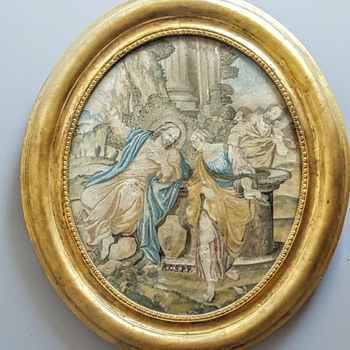 Jesus and the Samaritan needle painting/embroidery in 19th century frame.