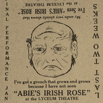 """Abie's Irish Rose"" Anne Nichols Advertisements And Unused Ticket To Play - Advertising"