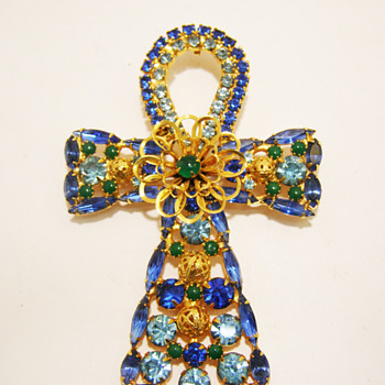 Vintage DeLizza & Elster for Alexis Kirk Rhinestone Ankh Pendant Brooch
