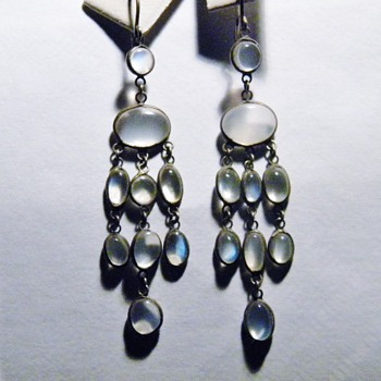 Antique Victorian Ceylon Moonstone Pendant Silver Earrings