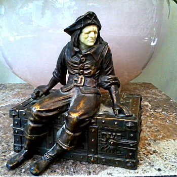 """Pirate On a Treasure Chest"" Bookend with Cedar Lined Box /Cold Painted Spelter with Ivorine Face/J.B.Hirsch Foundry/Circa 1932"