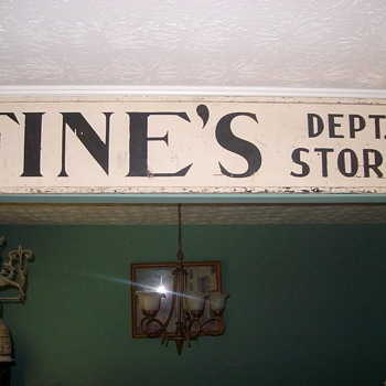 "Old Wooden ""Fines Dept Store"" Sign"