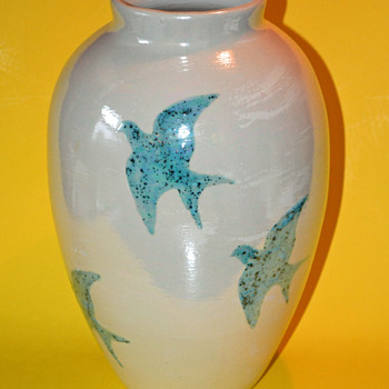 Ceramic Vase w/ Blue Doves