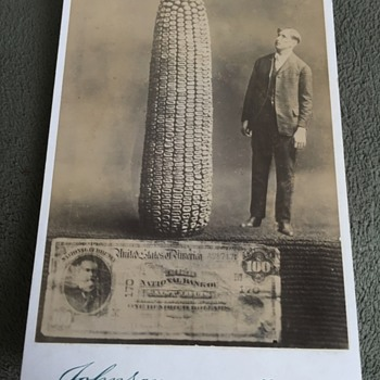 Cabinet Card Man Corn 100 Dollar Bill Doctered Photo
