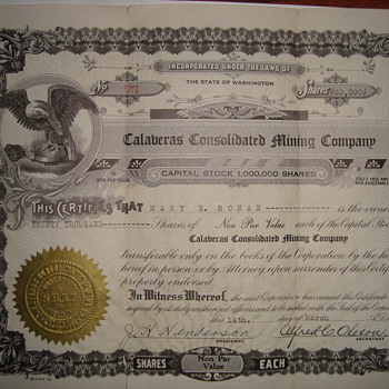Mining Stock Certificate - US Paper Money
