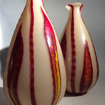 "Kralik Bambus ""Teardrop"" Pair - Art Glass"