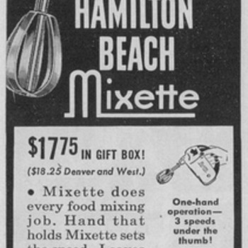 1950 Hamilton Beach Advertisement - Advertising