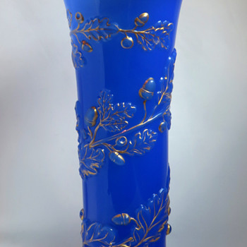 Baccarat Molded Opaline vase in an Unusual Decor