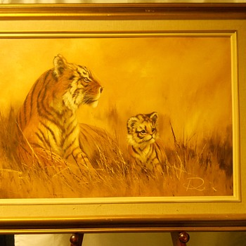 "Tiger with is Cub, Oil on Canvas,""DEX""Circa 20 Century"