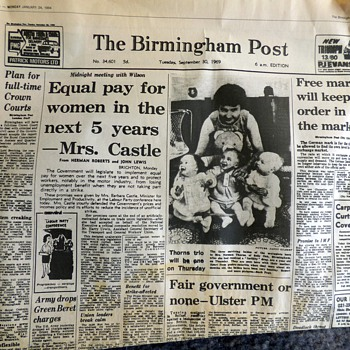 1969-british newspapers-equal pay act/snow chaos-birmingham post.