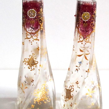 MOSER ENAMELED PAIR - Art Glass