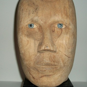 Handmade Folk Art Mannequin Head with Moving Eyes collection Jim Linderman - Folk Art