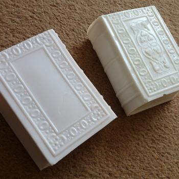 milk-glass book-shaped ornaments