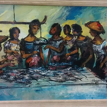 Women at fish market. oil.  wish I could make out the signature - Visual Art