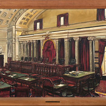 """Interior of the U.S. Supreme Court"",  PWAP Painting by Edwin Dorsey Doniphan, Depression Era - Visual Art"