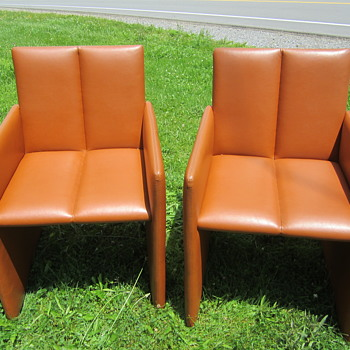 Retro / Vintage Orange Vinyl and Chrome Chairs - Very thin