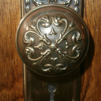 Early 1900's Brass Doorknob & Backplates