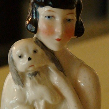 Flapper Half Doll Holding a Spaniel Dog - Art Deco