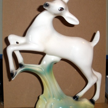 Art Deco Sylized WHITE Leaping Deer by Stewart B. McCulloch California Pottery - Pottery