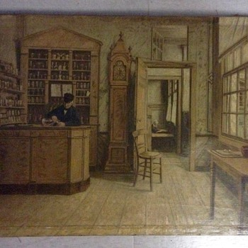 Painting, mid-19th century, farmacy or inn, unsigned. Dutch?