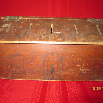 Antique Mid 1800's? Painted Wood Missionary Box Savings Bank w/ Abraham Lincoln Image? - Coin Operated