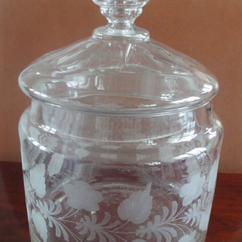 Antique Etched Glass Biscuit Jar