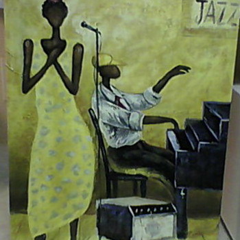 JAZZ OIL PAINTING M. HAROLD