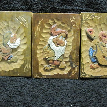 Three of Snow White's Seven Dwarfs in Vintage Wood Carvings from A.B. Stockholm