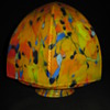 Art Deco Czechoslovakia Satin Spatter Glass 6 sided Lamp Globe 1930's