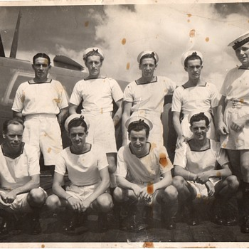 An example of collecting. 1944 British Navy Personnel on HMS Ameer during the last year of war. - Military and Wartime