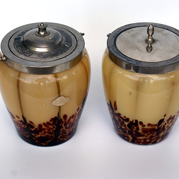Pair of WELZ Translucent Lines & Spots cookie jar FWK Label