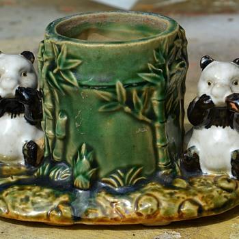 Panda Bear Pen Holder? Majolica? - Animals