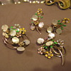 Vintage Parure Enamel, Mother of Pearl, gold tone.  no mark