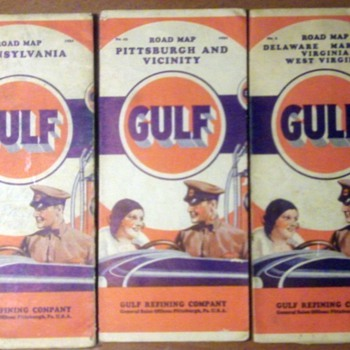 Vintage Gulf Road Maps  - Petroliana