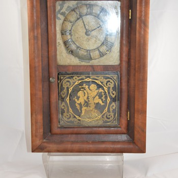Antique Wood Mantel Clock Glass Cherub Painted Dial Maker Unknown - Clocks