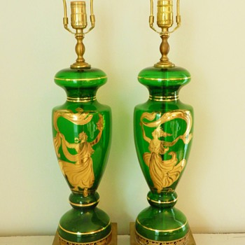Pair 1940&#039;s Green Glass Grecian Lamps - Lamps