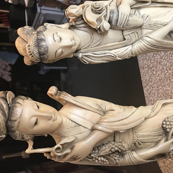 Chinese tall  statues signed, no idea what they're made of?